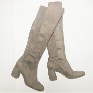 Nine West Knee High Gray Suede Boots